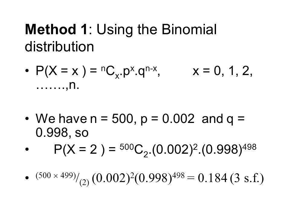 Method 1: Using the Binomial distribution