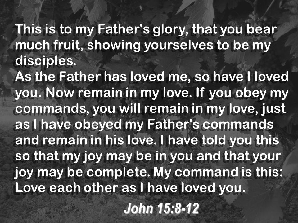 This is to my Father s glory, that you bear much fruit, showing yourselves to be my disciples.