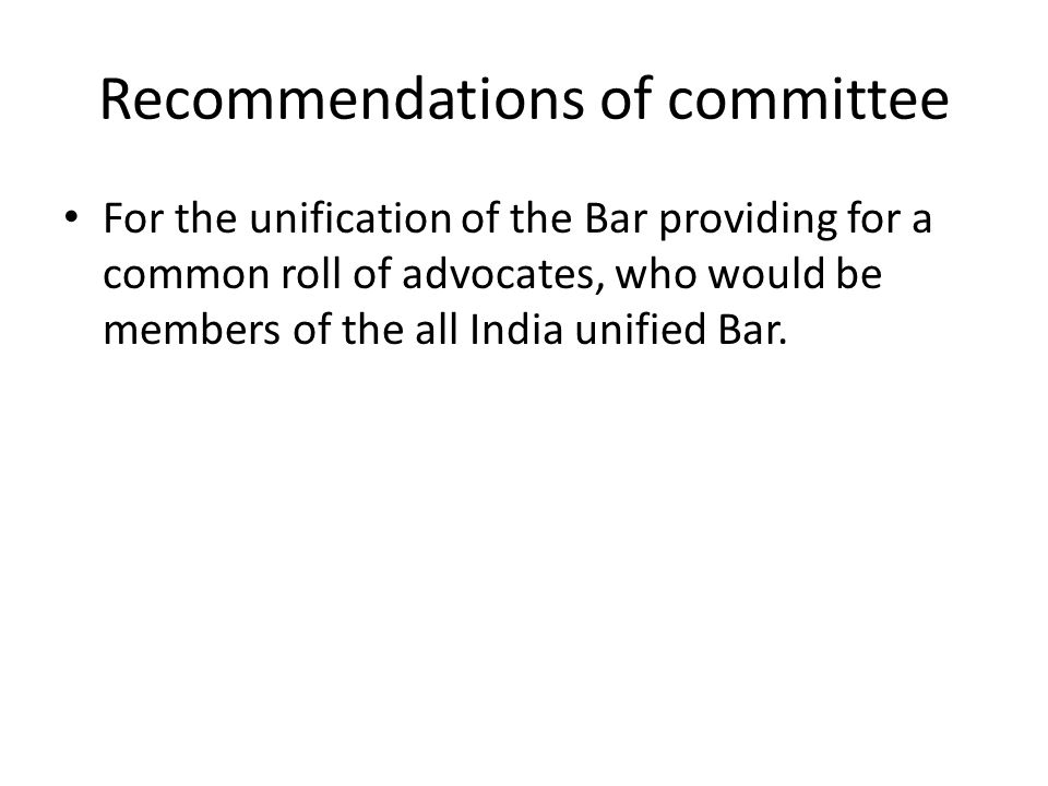Recommendations of committee