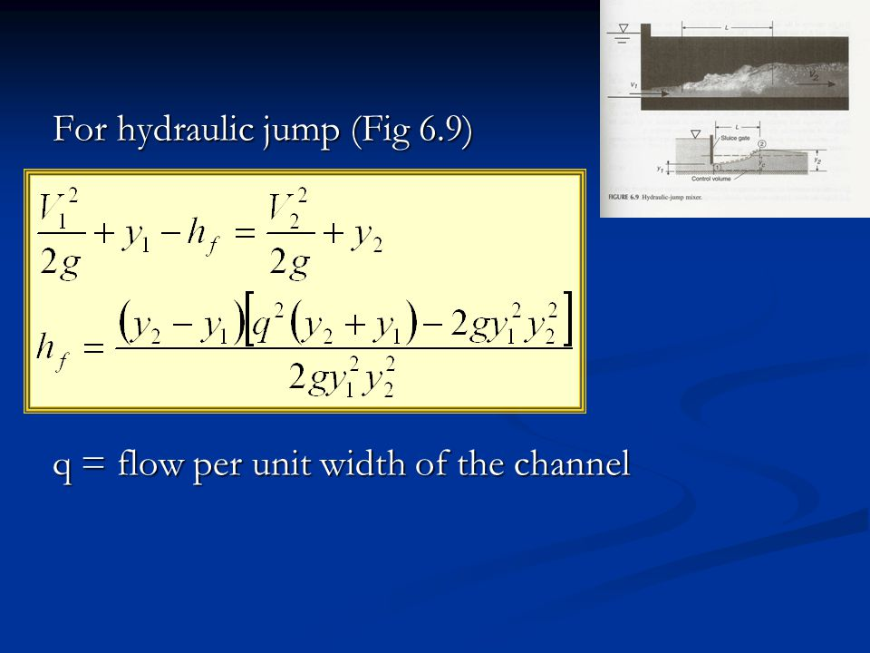 For hydraulic jump (Fig 6.9)