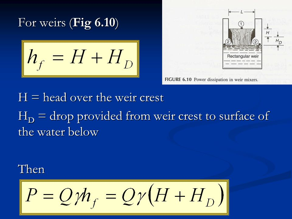 For weirs (Fig 6.10) H = head over the weir crest. HD = drop provided from weir crest to surface of the water below.