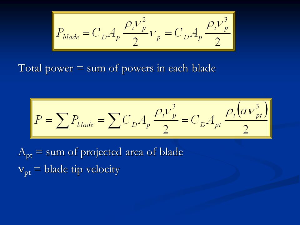 Total power = sum of powers in each blade