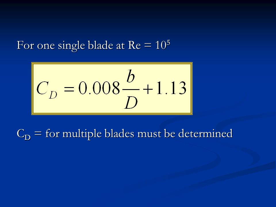 For one single blade at Re = 105
