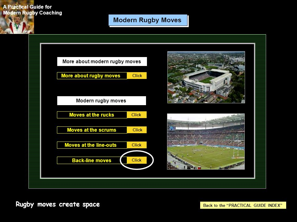 More about modern rugby moves Back to the PRACTICAL GUIDE INDEX