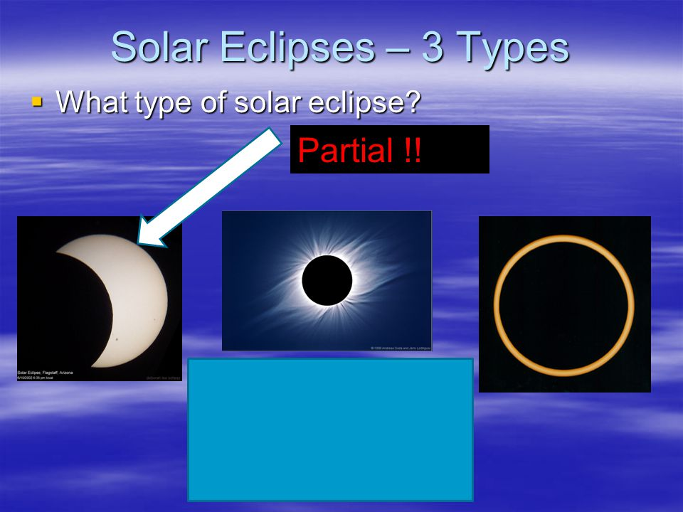 Solar Eclipses – 3 Types What type of solar eclipse Partial !!