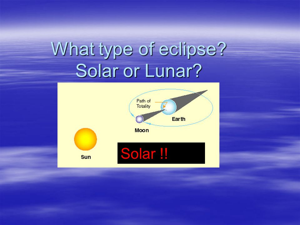 What type of eclipse Solar or Lunar