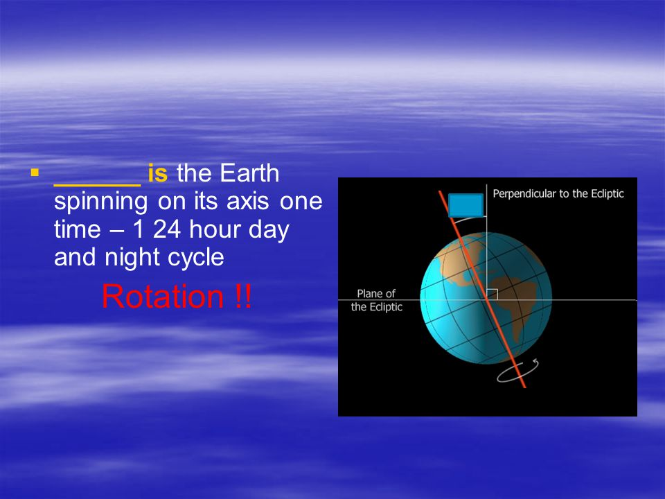 ______ is the Earth spinning on its axis one time – 1 24 hour day and night cycle