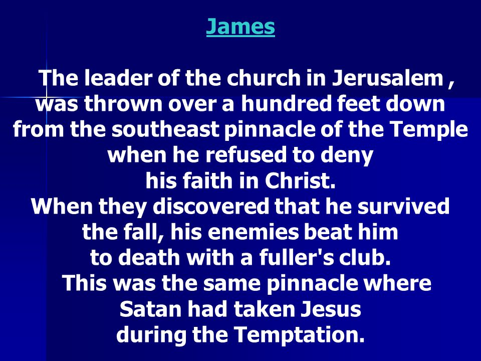 The leader of the church in Jerusalem ,