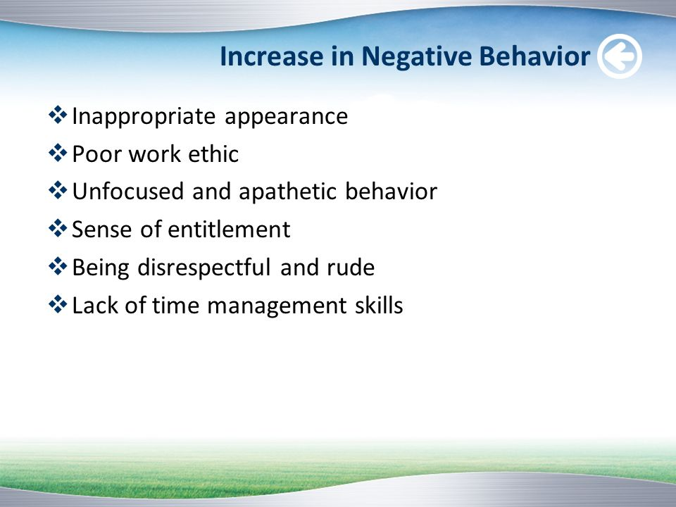 Increase in Negative Behavior