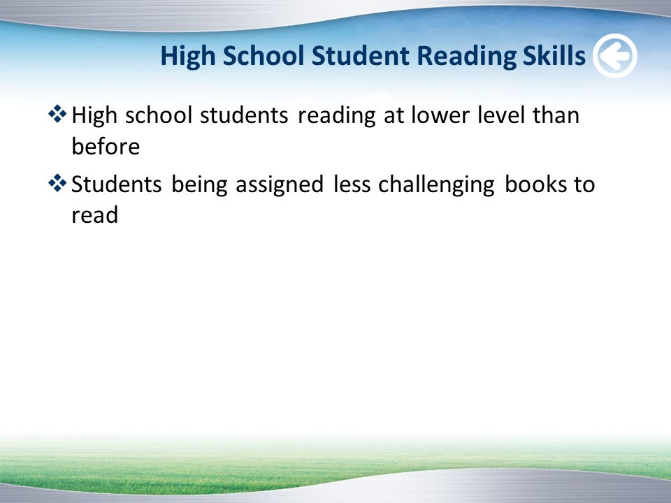 High School Student Reading Skills