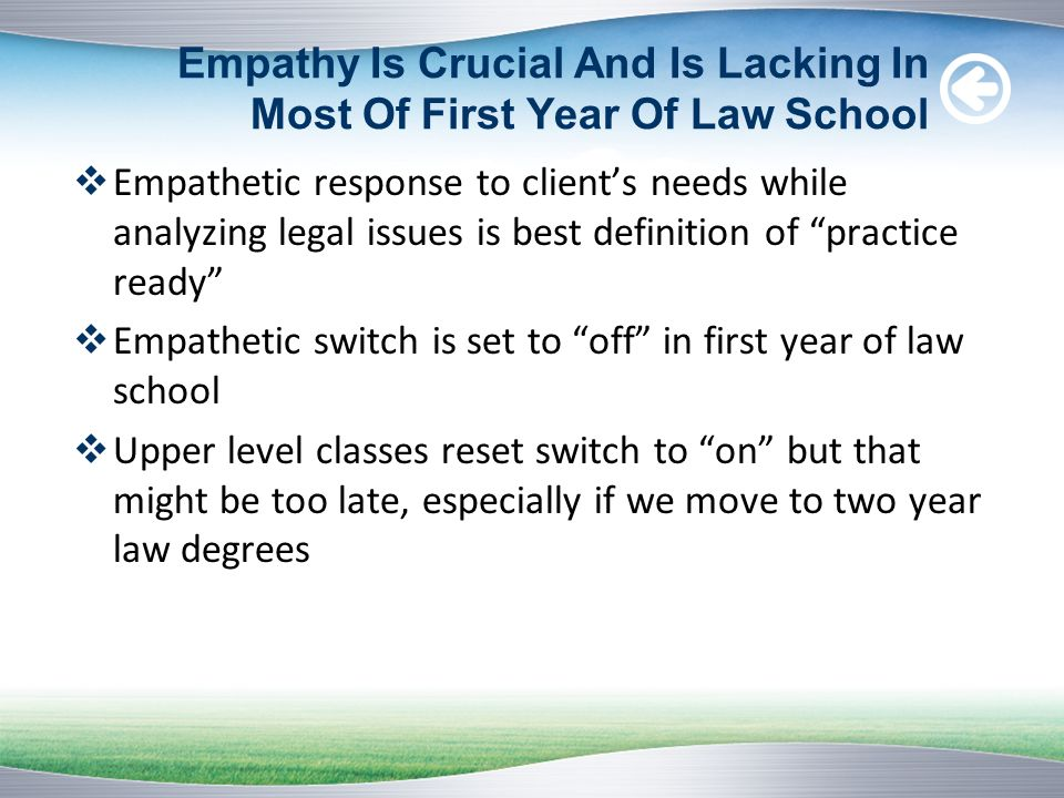 Empathy Is Crucial And Is Lacking In Most Of First Year Of Law School