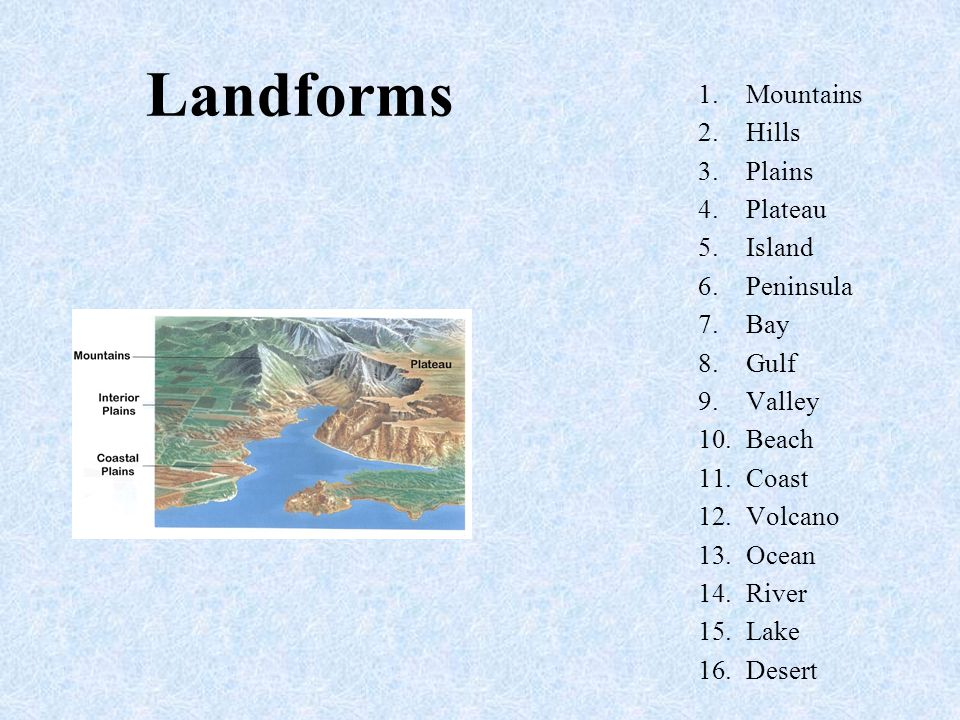Landforms Mountains Hills Plains Plateau Island Peninsula