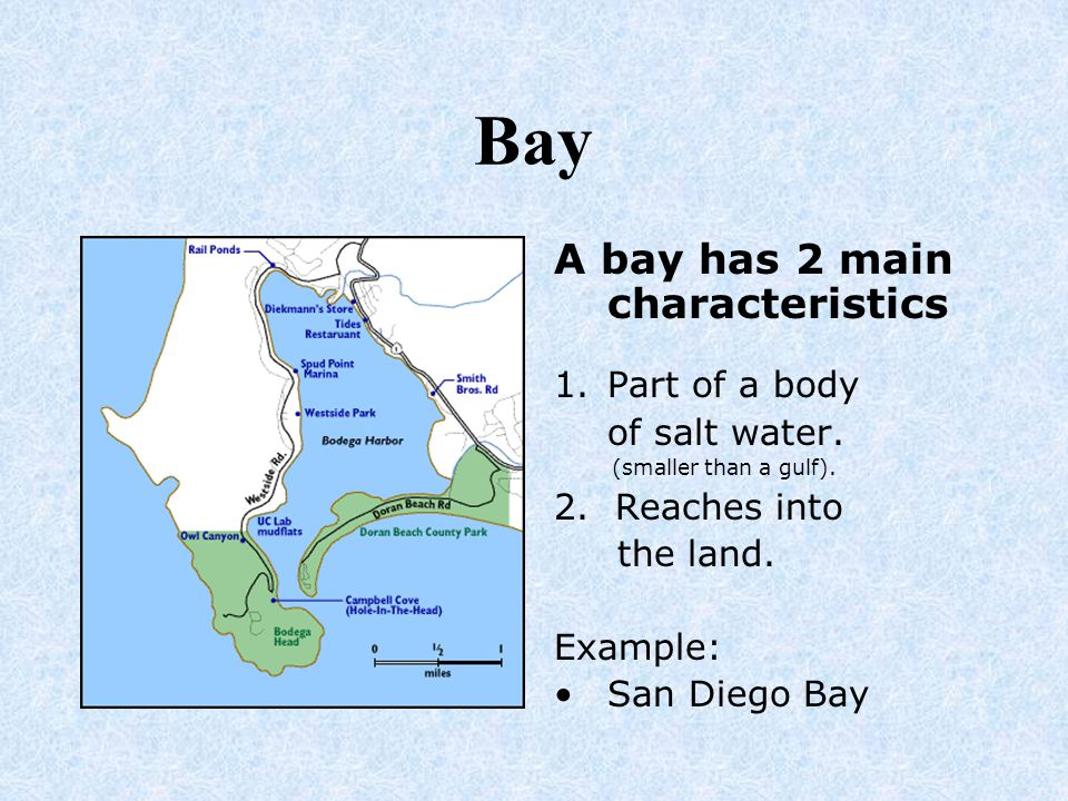 Bay A bay has 2 main characteristics Part of a body of salt water.
