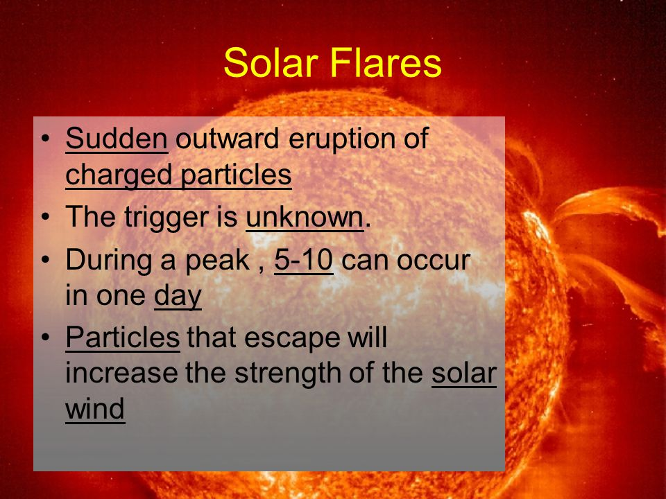 Solar Flares Sudden outward eruption of charged particles