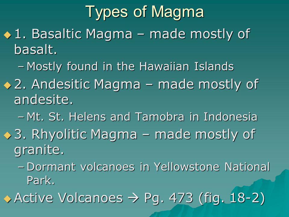 Types of Magma 1. Basaltic Magma – made mostly of basalt.