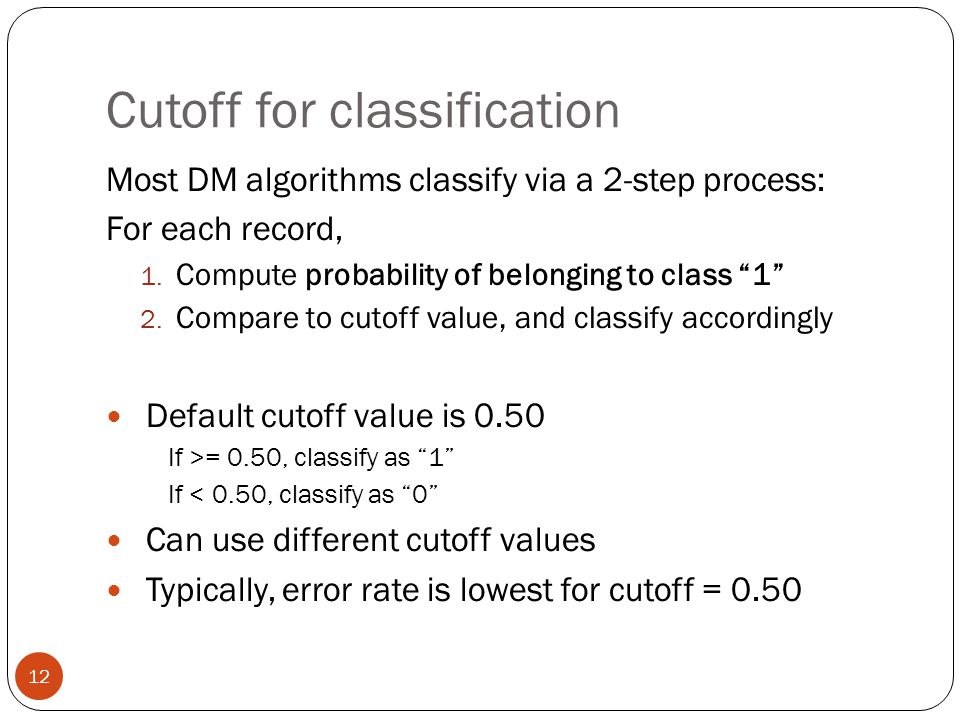 Cutoff for classification