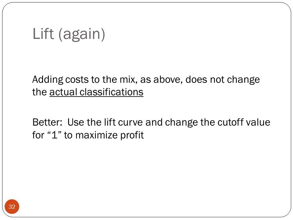 Lift (again) Adding costs to the mix, as above, does not change the actual classifications.