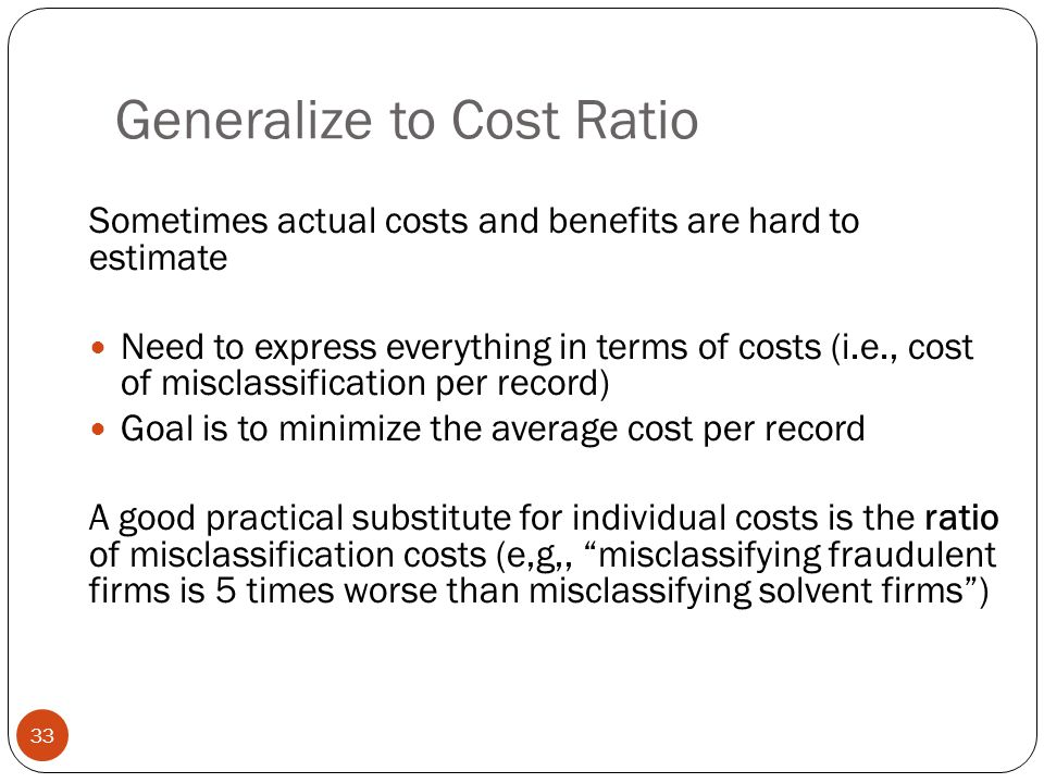 Generalize to Cost Ratio
