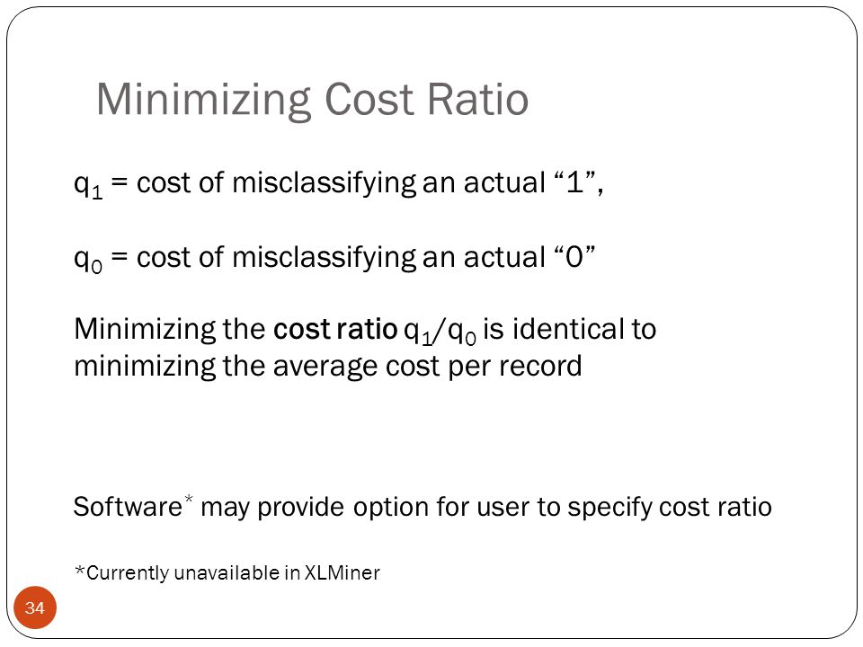 Minimizing Cost Ratio q1 = cost of misclassifying an actual 1 ,
