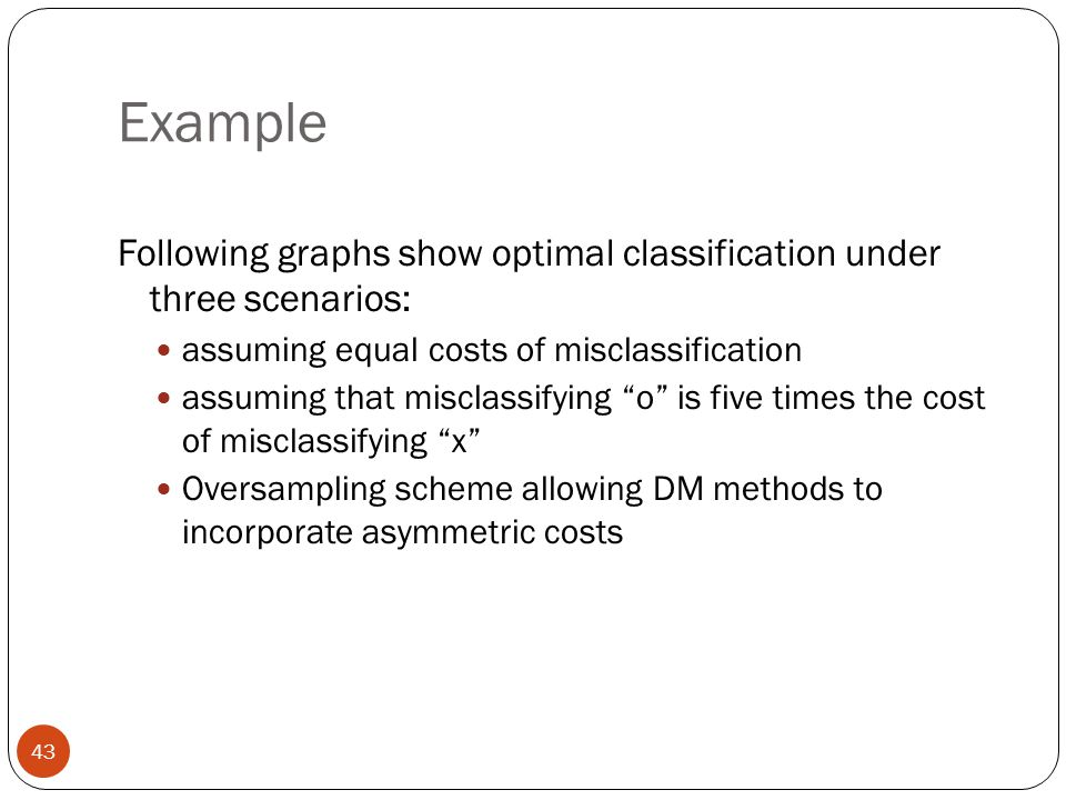 Example Following graphs show optimal classification under three scenarios: assuming equal costs of misclassification.