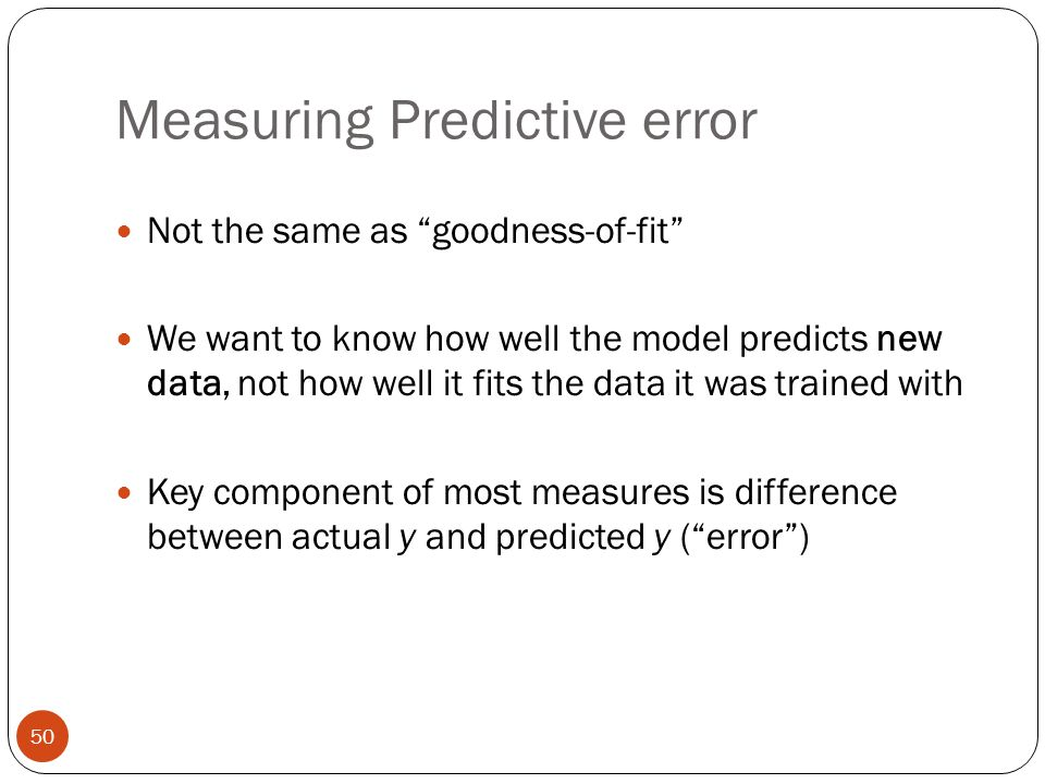 Measuring Predictive error