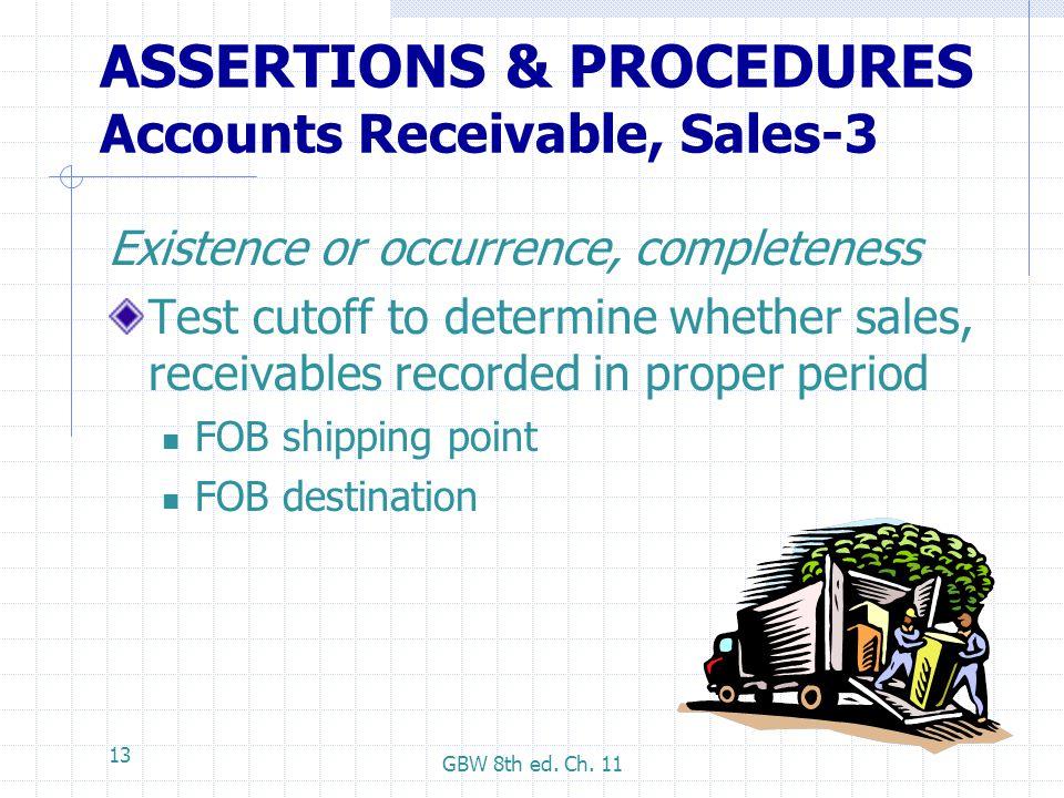 ASSERTIONS & PROCEDURES Accounts Receivable, Sales-3