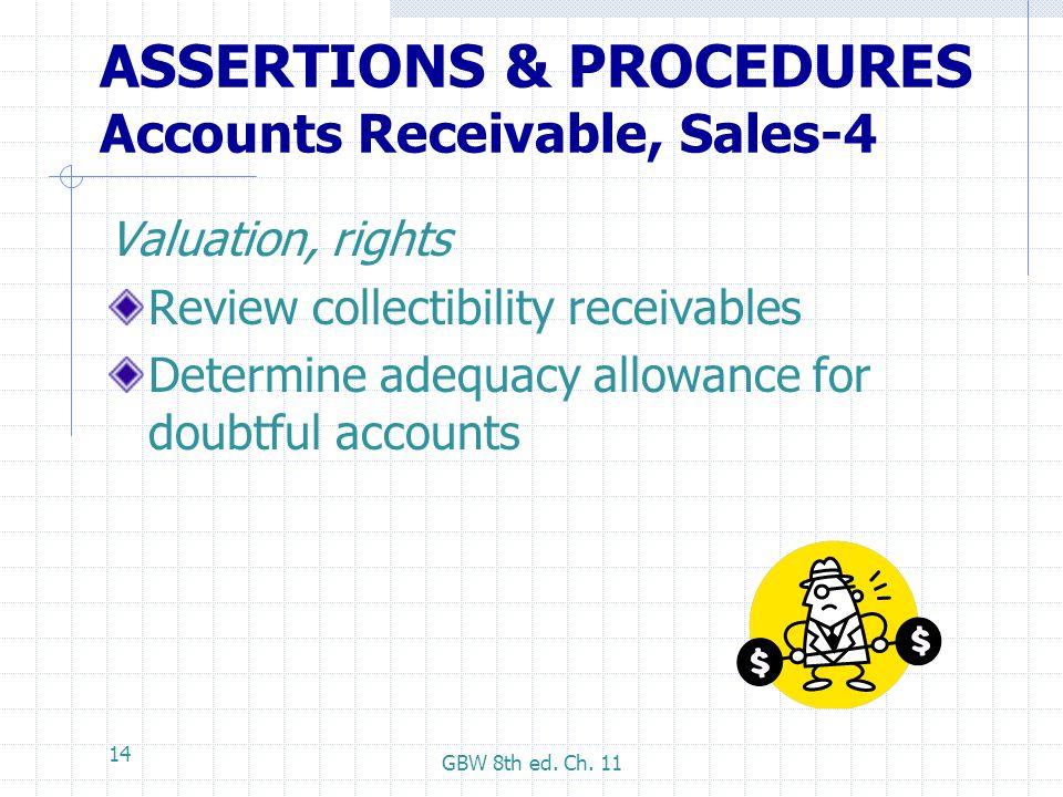 ASSERTIONS & PROCEDURES Accounts Receivable, Sales-4