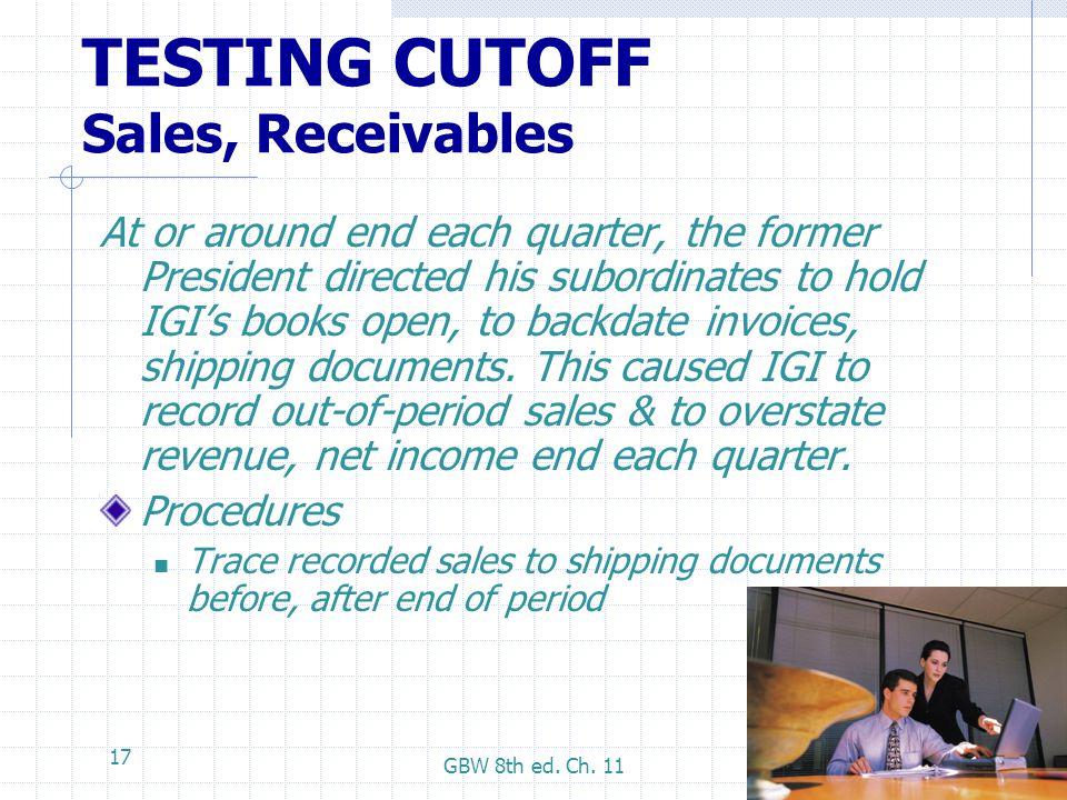 TESTING CUTOFF Sales, Receivables
