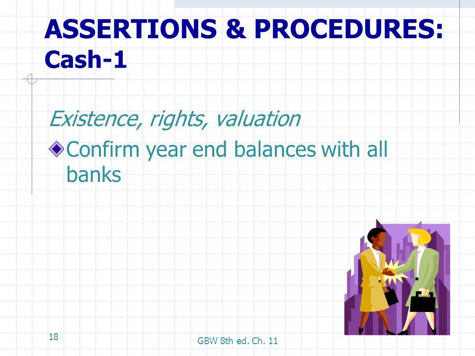 ASSERTIONS & PROCEDURES: Cash-1