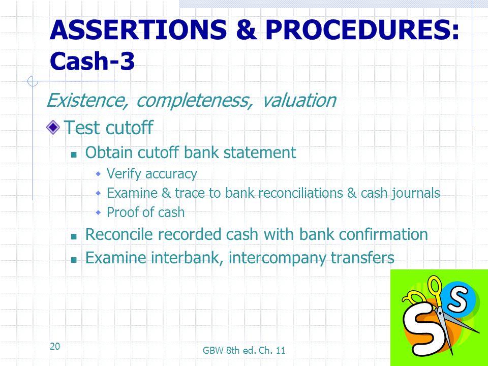 ASSERTIONS & PROCEDURES: Cash-3
