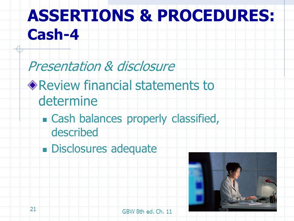 ASSERTIONS & PROCEDURES: Cash-4