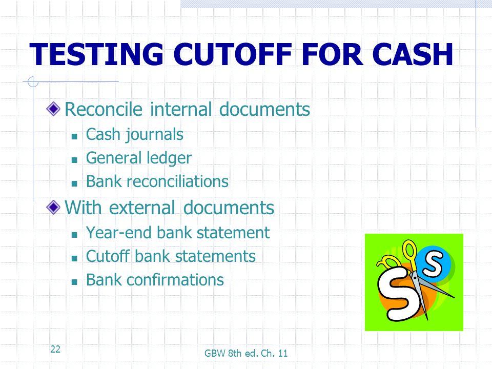 TESTING CUTOFF FOR CASH
