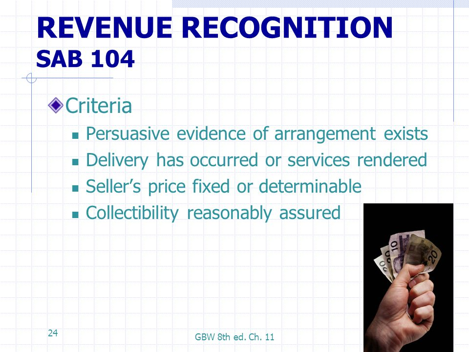 REVENUE RECOGNITION SAB 104