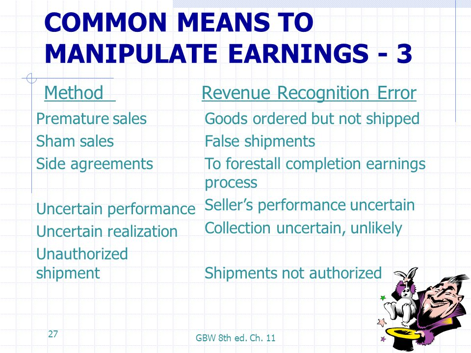 COMMON MEANS TO MANIPULATE EARNINGS - 3