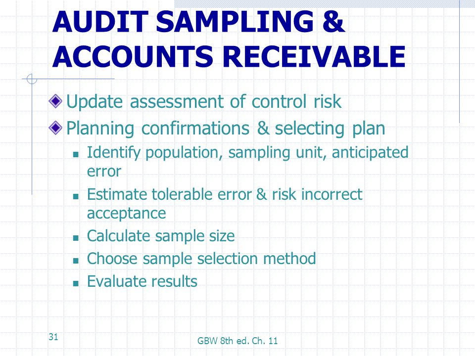 AUDIT SAMPLING & ACCOUNTS RECEIVABLE