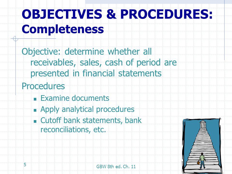 OBJECTIVES & PROCEDURES: Completeness