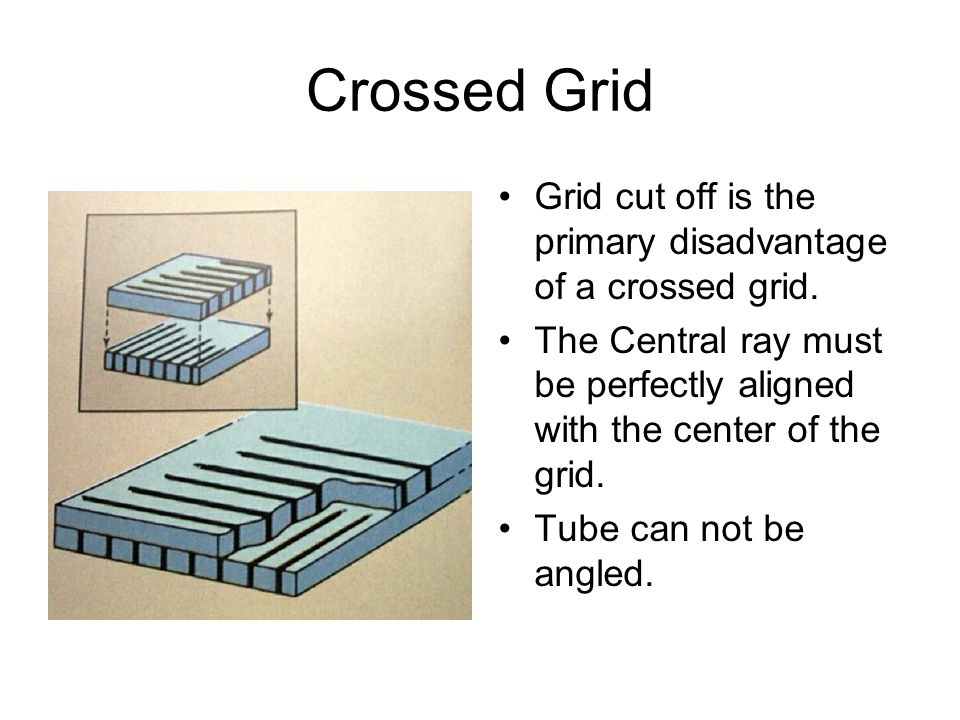 Crossed Grid Grid cut off is the primary disadvantage of a crossed grid. The Central ray must be perfectly aligned with the center of the grid.
