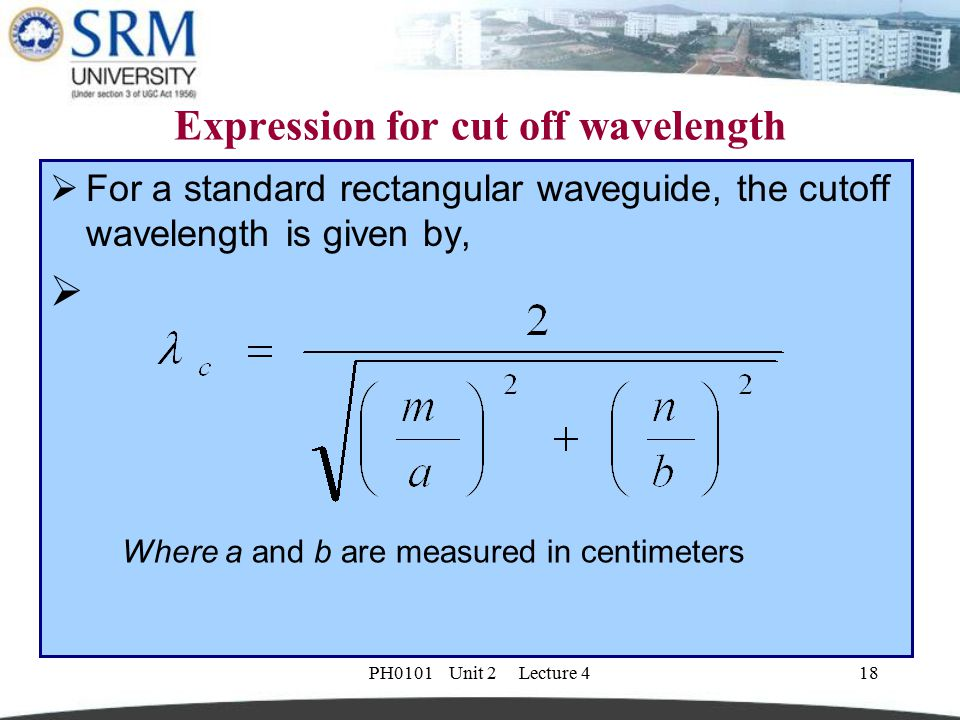 Expression for cut off wavelength