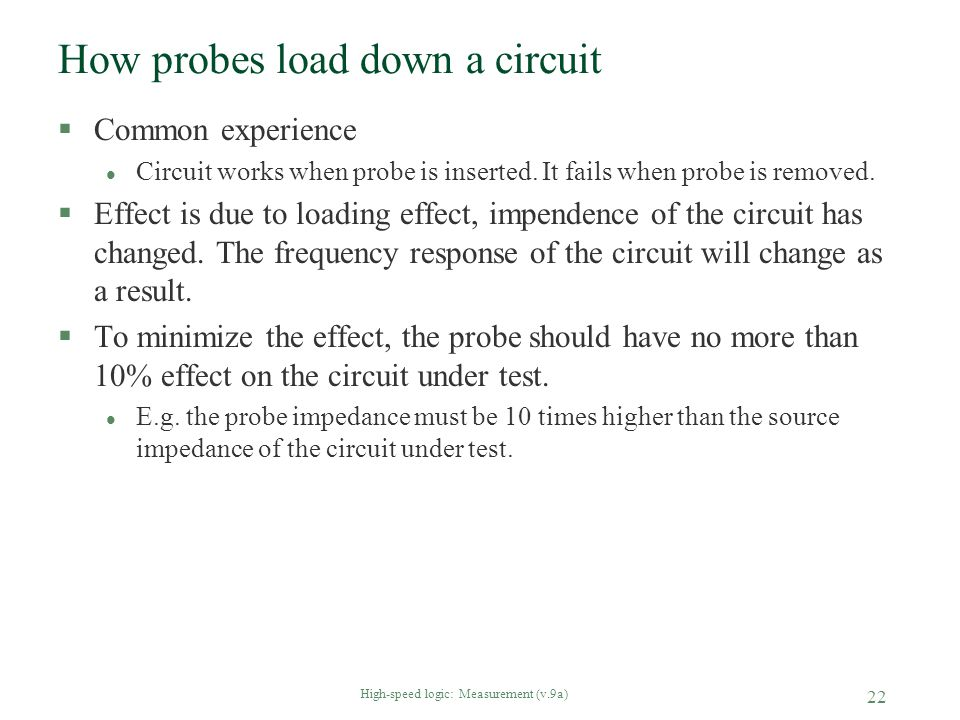 How probes load down a circuit