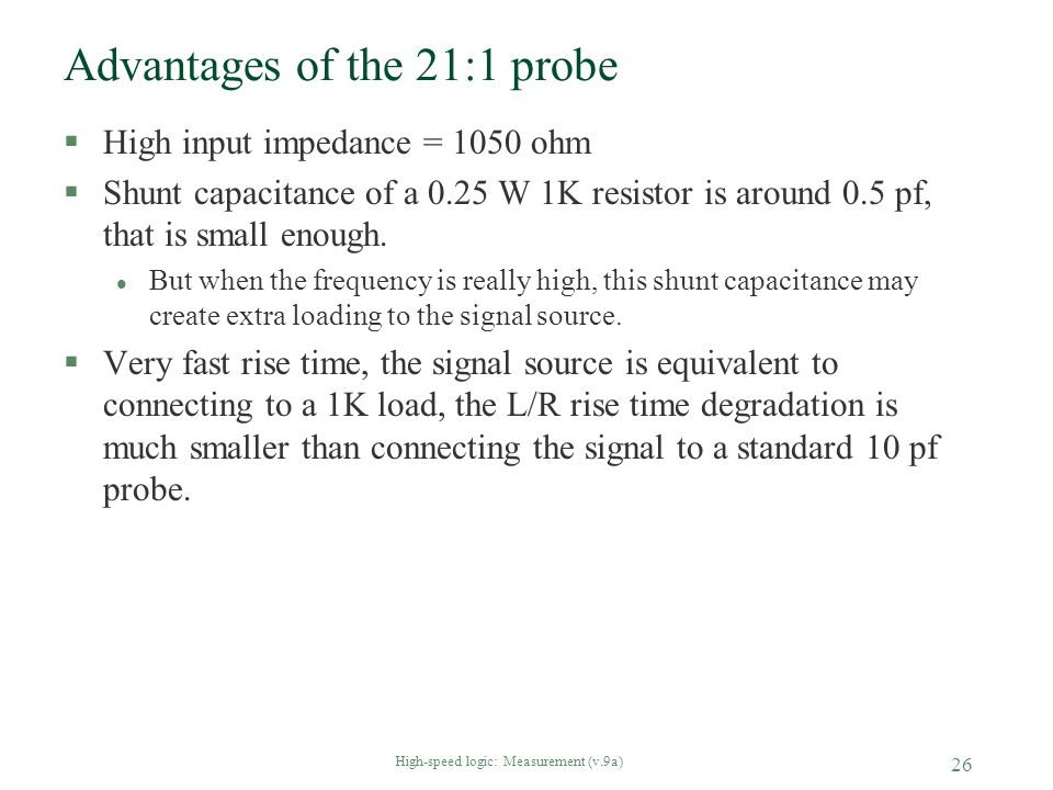 Advantages of the 21:1 probe