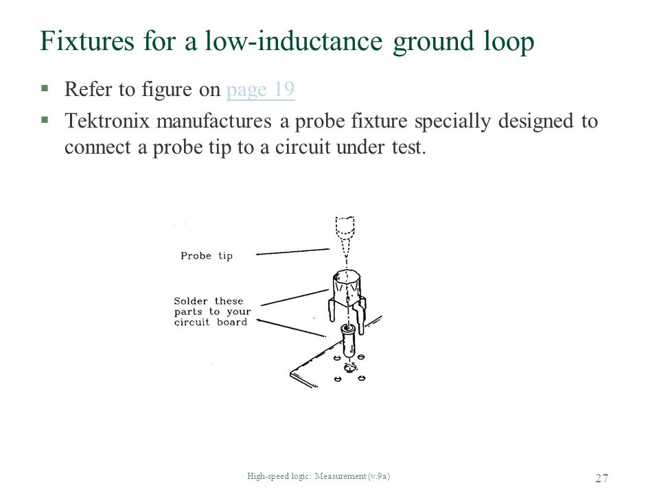 Fixtures for a low-inductance ground loop