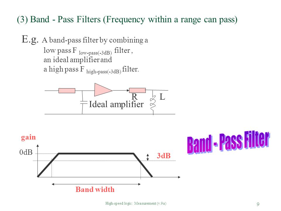 (3) Band - Pass Filters (Frequency within a range can pass)