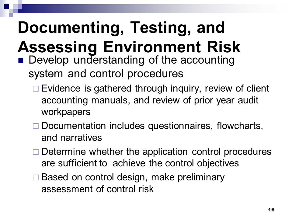 Documenting, Testing, and Assessing Environment Risk