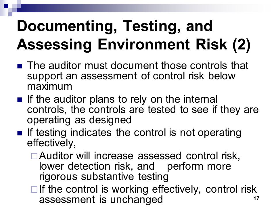Documenting, Testing, and Assessing Environment Risk (2)