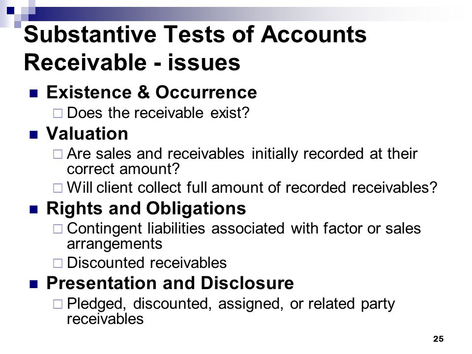 Substantive Tests of Accounts Receivable - issues