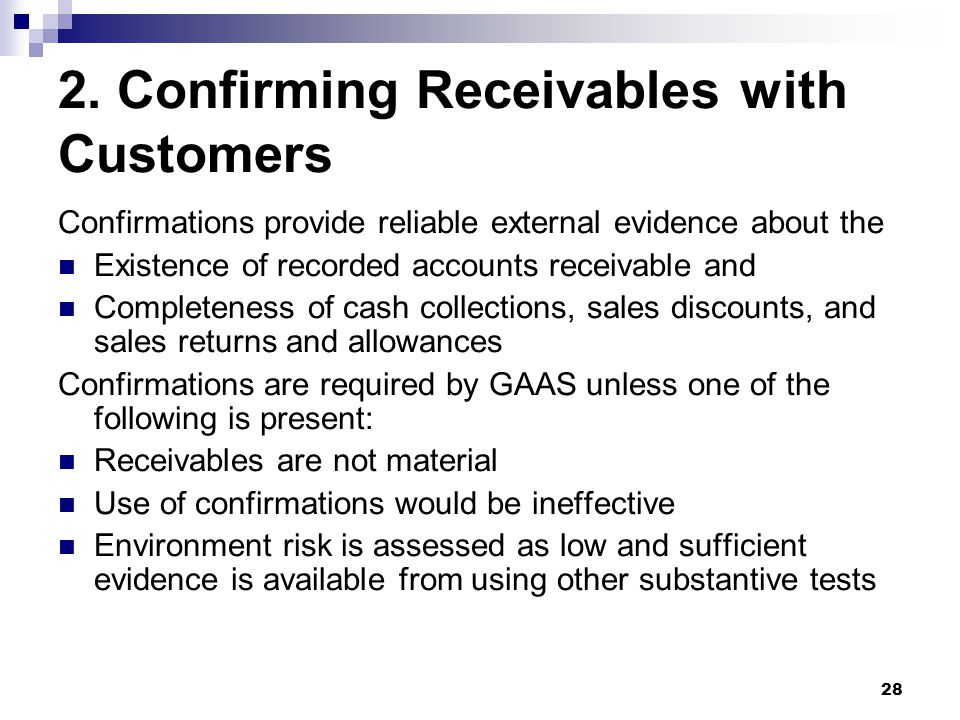 2. Confirming Receivables with Customers