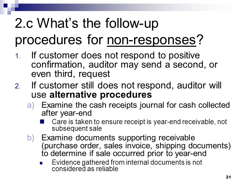 2.c What's the follow-up procedures for non-responses