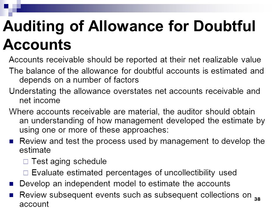 Auditing of Allowance for Doubtful Accounts
