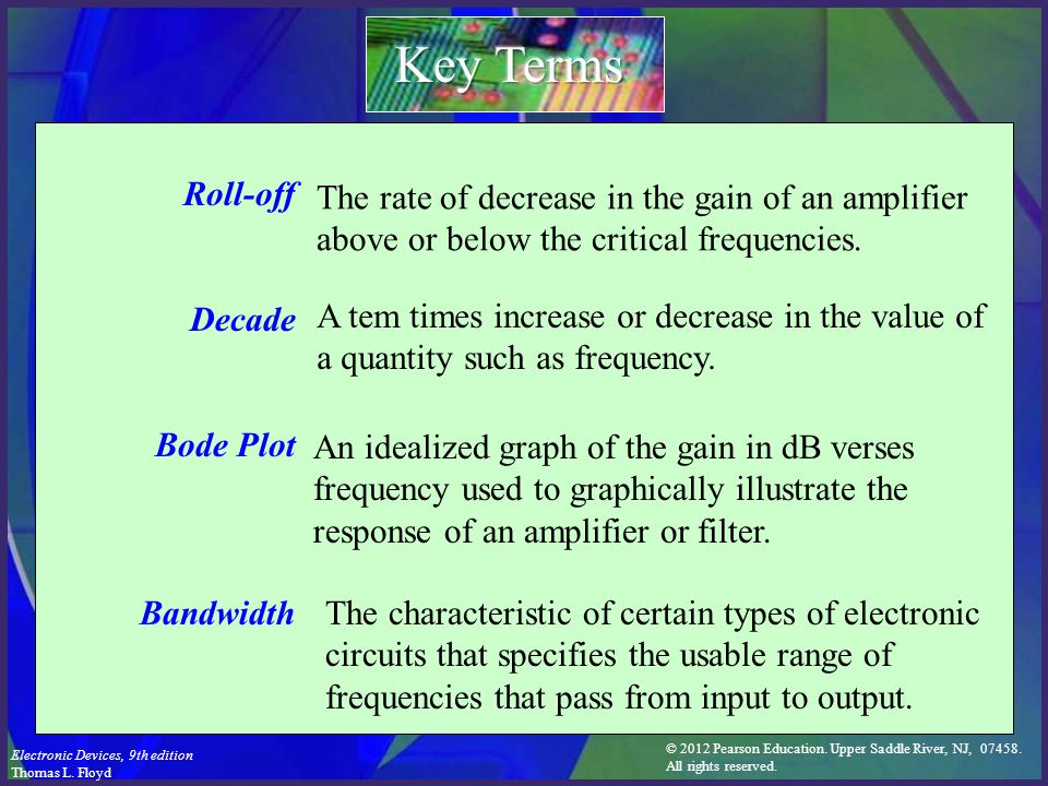 Key Terms Roll-off. Decade. Bode Plot. Bandwidth. The rate of decrease in the gain of an amplifier above or below the critical frequencies.