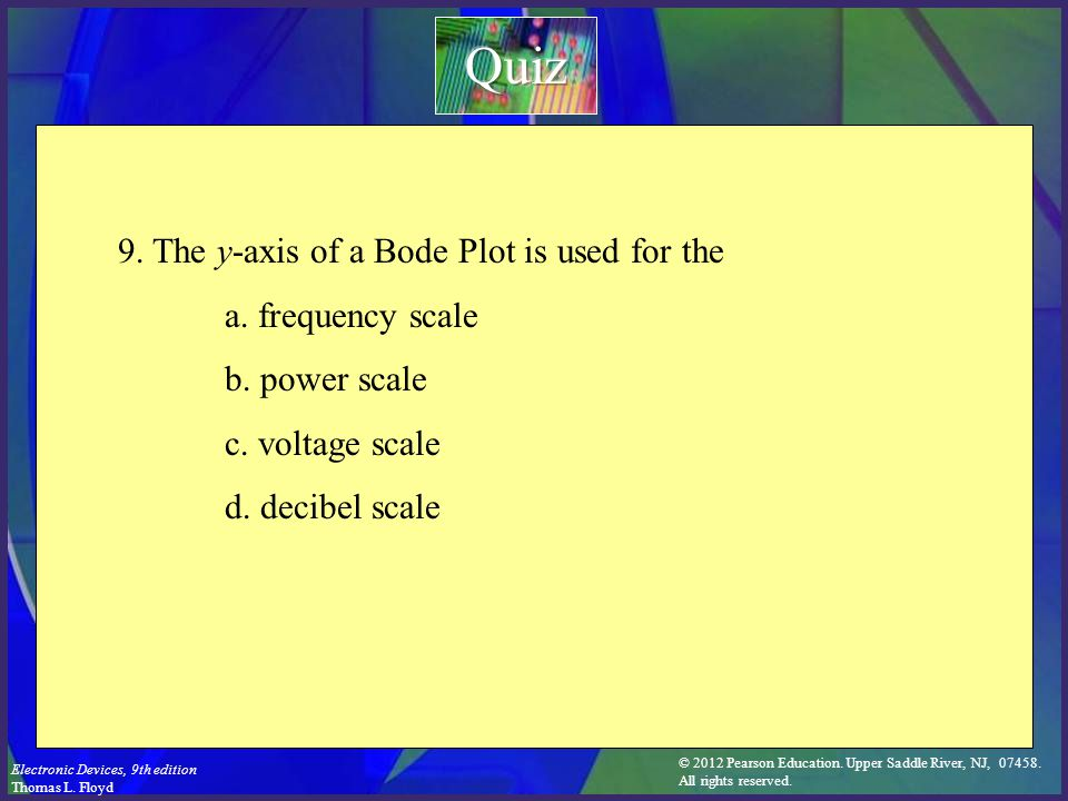 Quiz 9. The y-axis of a Bode Plot is used for the a. frequency scale